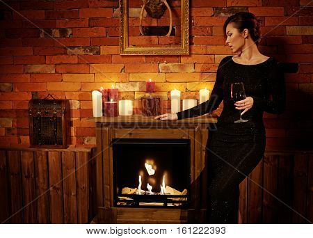 Well-dressed woman in cozy home interior