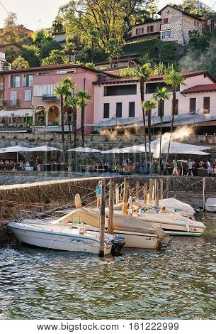 Boats At Waterfront In Expensive Resort Ascona Of Ticino