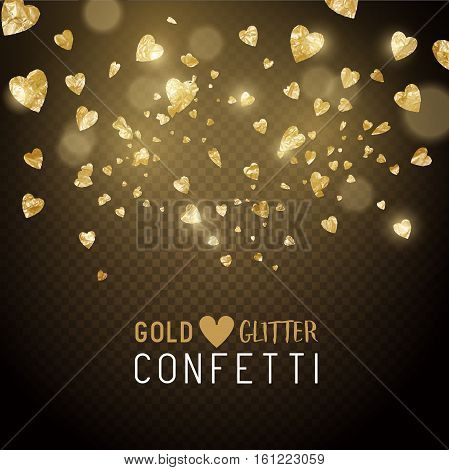 Luxury falling shiny and gold metallic heart shaped confetti. Vector illustration.