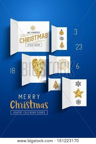 Christmas advent calendar doors open to reveal festive images. Vector illustration