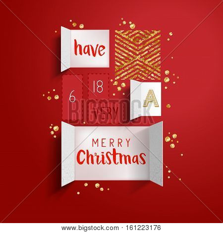 Christmas advent calendar doors open to reveal a festive message with gold details. Vector illustration