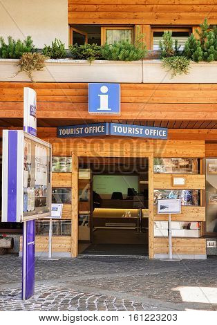 Entrance Into Tourist Office In Resort City Zermatt