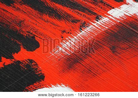 Black, White, Red Acrylic Paint  On Metal Surface. Brushstroke 1