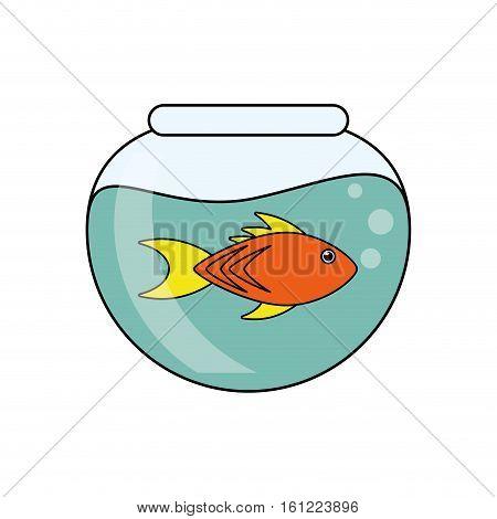 Fish animal cartoon inside bowl icon. Sea life ecosystem fauna and ocean theme. Isolated design. Vector illustration
