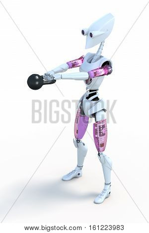 3d render of a robot exercising with a kettlebell against a white background.
