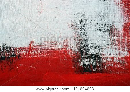 Black, White, Red Acrylic Paint  On Metal Surface. Brushstroke 2