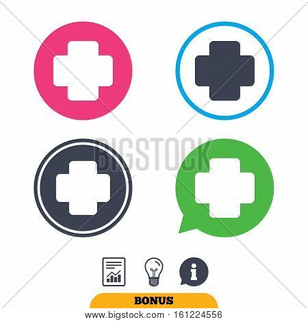 Medical cross sign icon. Diagnostics symbol. Report document, information sign and light bulb icons. Vector