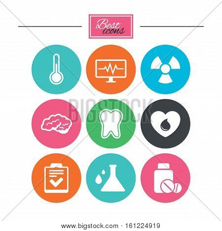 Medicine, medical health and diagnosis icons. Blood donate, thermometer and pills signs. Tooth, neurology symbols. Colorful flat buttons with icons. Vector