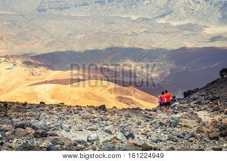 El Teide, Tenerife, June 06, 2015: Unidentified People Runs From The Top Of El Teide Volcano, Teneri