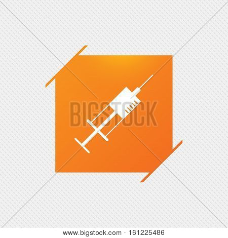 Syringe sign icon. Medicine symbol. Orange square label on pattern. Vector