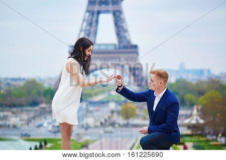 Happy Romantic Couple In Paris