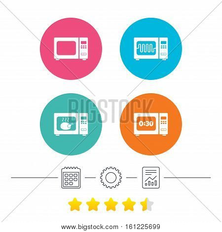 Microwave oven icons. Cook in electric stove symbols. Grill chicken with timer signs. Calendar, cogwheel and report linear icons. Star vote ranking. Vector