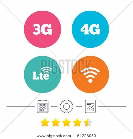 Mobile telecommunications icons. 3G, 4G and LTE technology symbols. Wi-fi Wireless and Long-Term evolution signs. Calendar, cogwheel and report linear icons. Star vote ranking. Vector