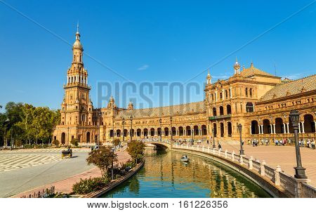 Main building of Plaza de Espana, an architecture complex in Seville - Spain, Andalusia