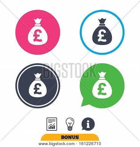 Money bag sign icon. Pound GBP currency symbol. Report document, information sign and light bulb icons. Vector