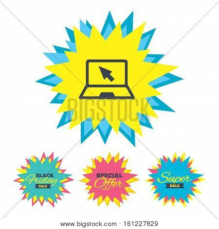 Sale stickers and banners. Laptop sign icon. Notebook pc with cursor pointer symbol. Star labels. Vector