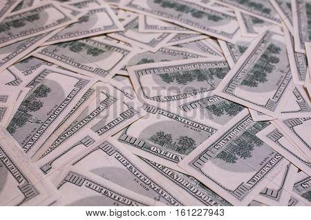 background of the money hundred dollar bills down back reverse side. background of dollars old hundred-dollar bill