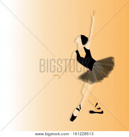 the vector ballerina silhouette on gradient background