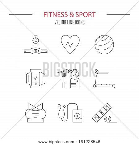 Fitness icons. Sport gear. Healthy lifestyle vector.