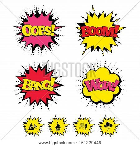 Comic Boom, Wow, Oops sound effects. Birthday party icons. Cake, balloon, hat and muffin signs. Fireworks with rocket symbol. Cupcake with candle. Speech bubbles in pop art. Vector