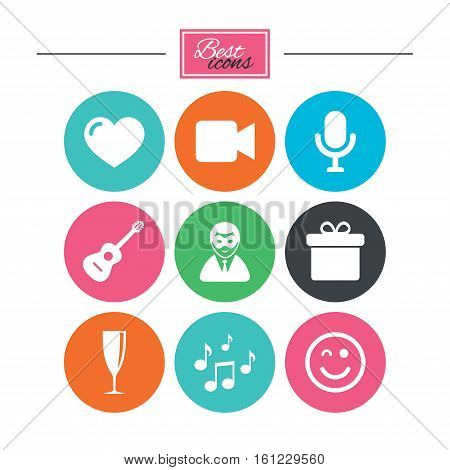 Party celebration, birthday icons. Carnival, guitar and champagne glass signs. Gift box, music and video camera symbols. Colorful flat buttons with icons. Vector