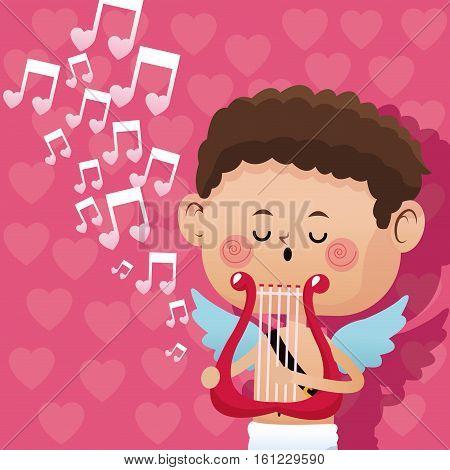 happy valentine day cupid music romantic harp heart background vector illustration eps 10