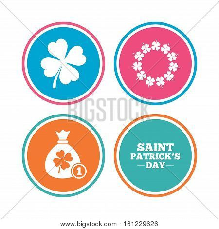 Saint Patrick day icons. Money bag with coin and clover sign. Wreath of quatrefoil clovers. Symbol of good luck. Colored circle buttons. Vector