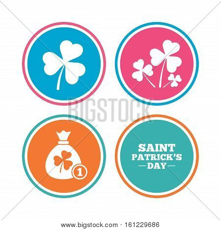 Saint Patrick day icons. Money bag with clover and coin sign. Trefoil shamrock clover. Symbol of good luck. Colored circle buttons. Vector