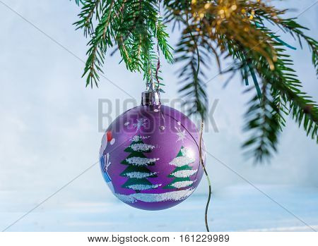 Fir branches with Christmas balls. Christmas background