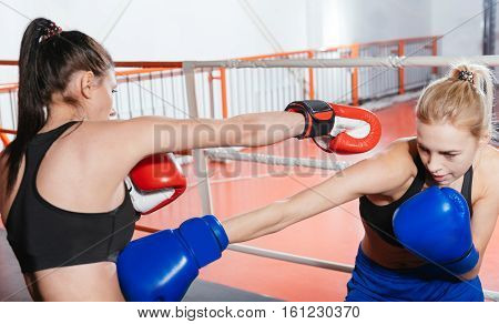 Dangerous hit. Swift powerful blonde boxer attacking her boxing partner with a low left hook during their training session in a gym