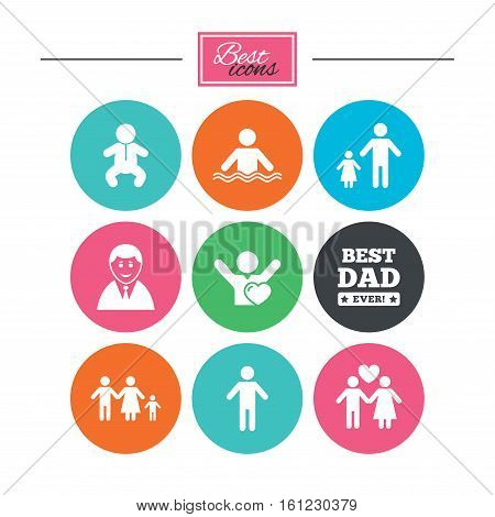 People, family icons. Swimming pool, love and children signs. Best dad, father and mother symbols. Colorful flat buttons with icons. Vector
