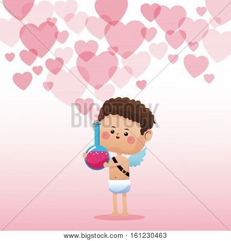 cupid valentine day elixir love hearts background vector illustration eps 10