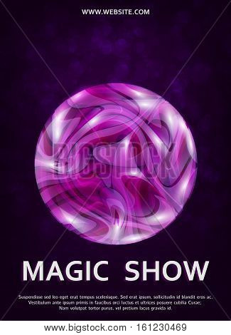 Magic show flyer template. Plasma ball vector.