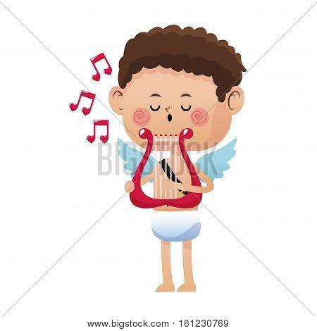 cute little cupid valentine day music harp vector illustration eps 10