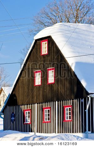 cottage in winter, Kunstat - Jadrna, Orlicke Mountains, Czech Republic