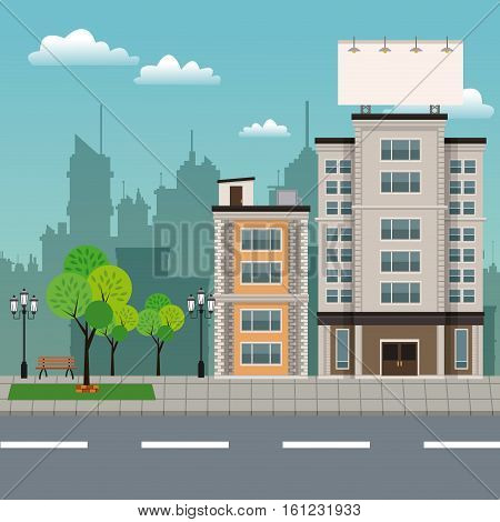 buildings tree brench park urban streetscape vector illustration eps 10