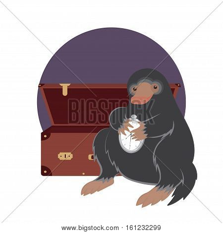Funny cartoon platypus holding clock sitting next to open chest. Vector illustration.