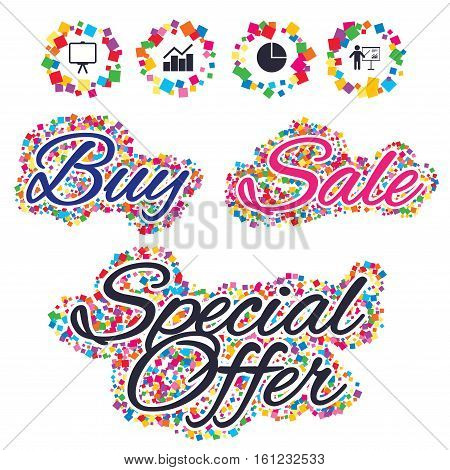 Sale confetti labels and banners. Diagram graph Pie chart icon. Presentation billboard symbol. Man standing with pointer sign. Special offer sticker. Vector