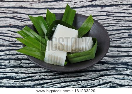 Ready Coconut Milk Jelly In Banana Leaf  Served .