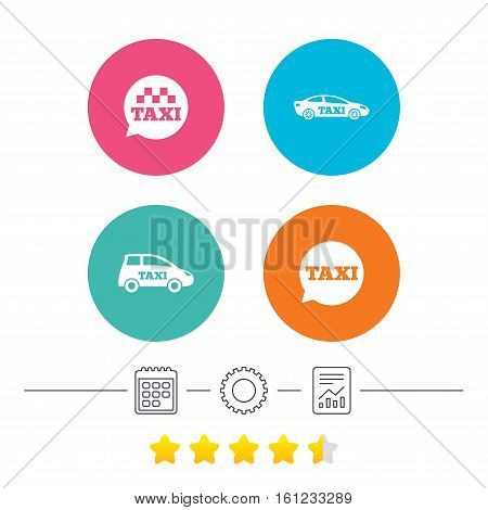 Public transport icons. Taxi speech bubble signs. Car transport symbol. Calendar, cogwheel and report linear icons. Star vote ranking. Vector