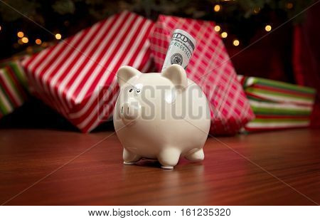 The Cost Of Christmas - A Piggy Bank Full Of Money.