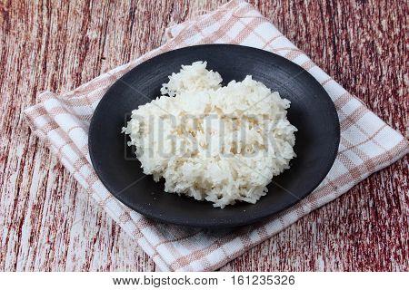 Ready Sticky Rice Served On Bamboo Background.