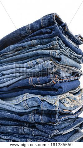 Blue Jeans stacked-white background