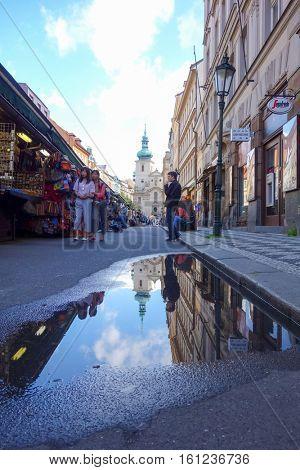 PRAGUE, CZECH REPUBLIC - September 7, 2016 : Tourists on foot Street in old town PRAGUE September 7, 2016 in Czech Republic