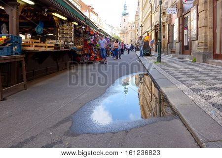 PRAGUE, CZECH REPUBLIC - September 7, 2016 : Tourists on foot Street in old town PRAGUE September 7, 2016 in Czech Republic
