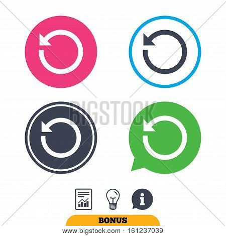 Repeat icon. Refresh symbol. Loop sign. Report document, information sign and light bulb icons. Vector