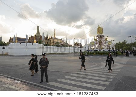 BANGKOK THAILAND - NOV 10 : police on Ratchadamnoen Nai road in sanam luang area while the funeral of king Bhumibol Adulyadej in Grand Palace on november 10 2016