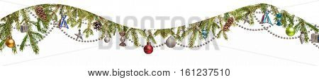 Christmas Tree and decorations on white background isolated space for lettering