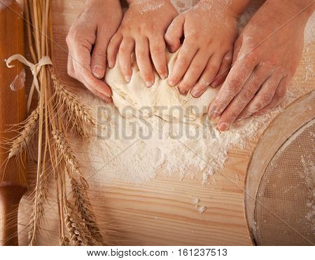 children's hands and the hands of his mother and knead the dough together