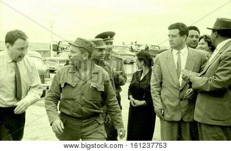 Yangiyer Uzbekistan - May 10 1963: Cuban Comandante Guillermo Garcia and other persons accompanying Fidel.